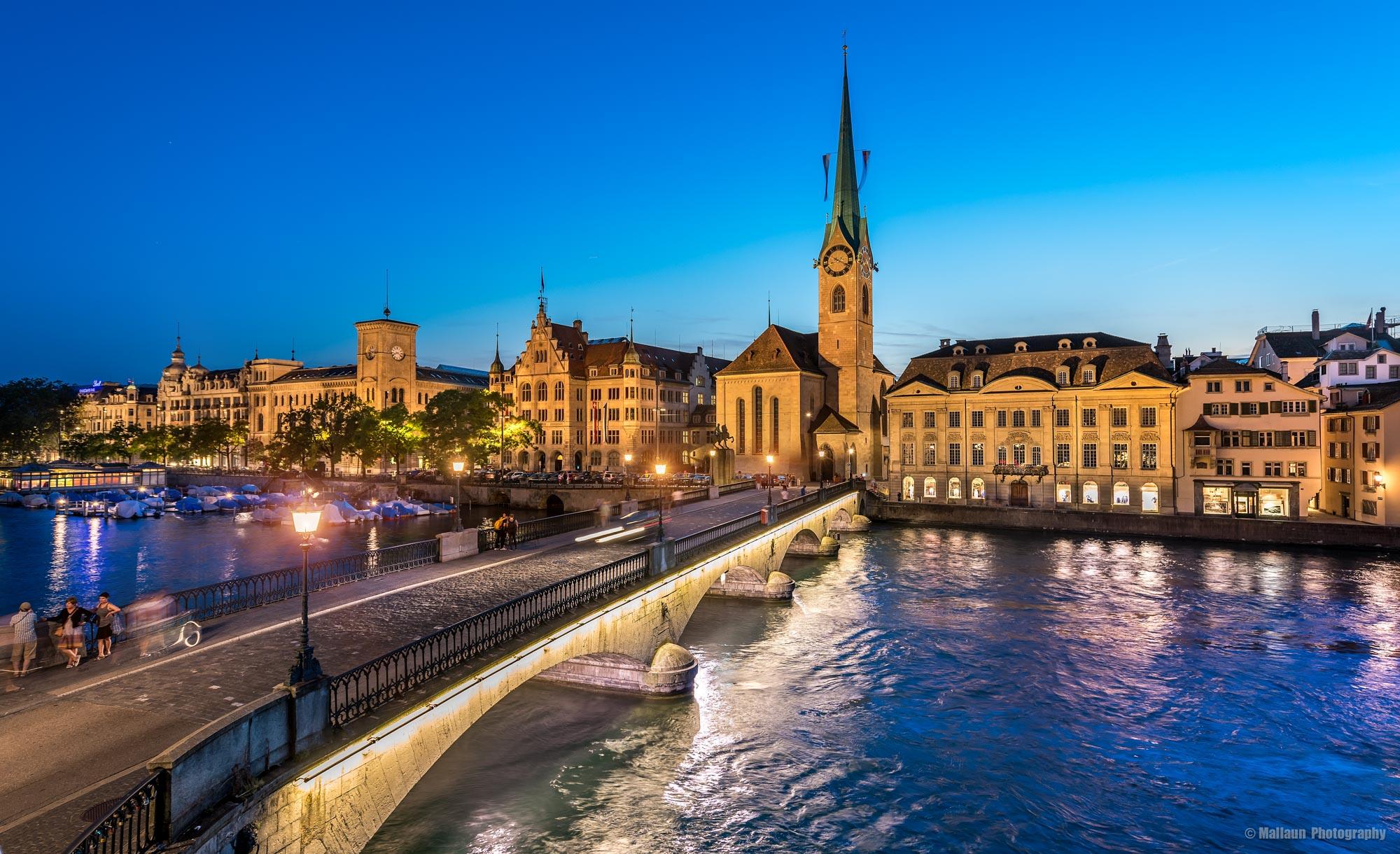 Münsterbrücke mit Fraumünster Kirche Zürich © Mallaun Photography