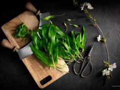 Bärlauch, Pesto, Wiegemesser und Scheere auf Holzbrett in Dark Mood Food Fotografie