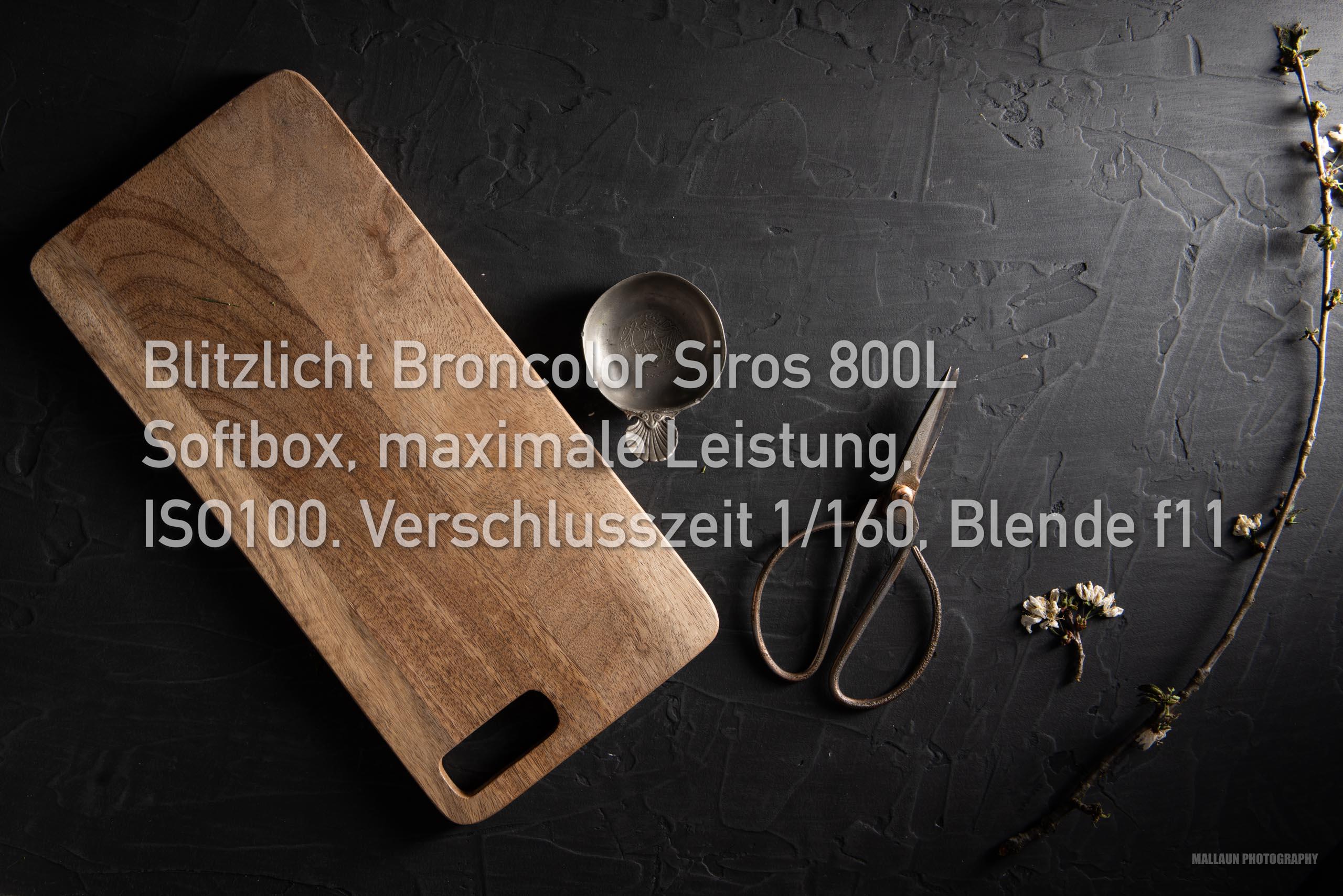 Blitzlicht Broncolor Siros 800L mit Softbox, maximale Leistung, 1/160, f11, ISO100