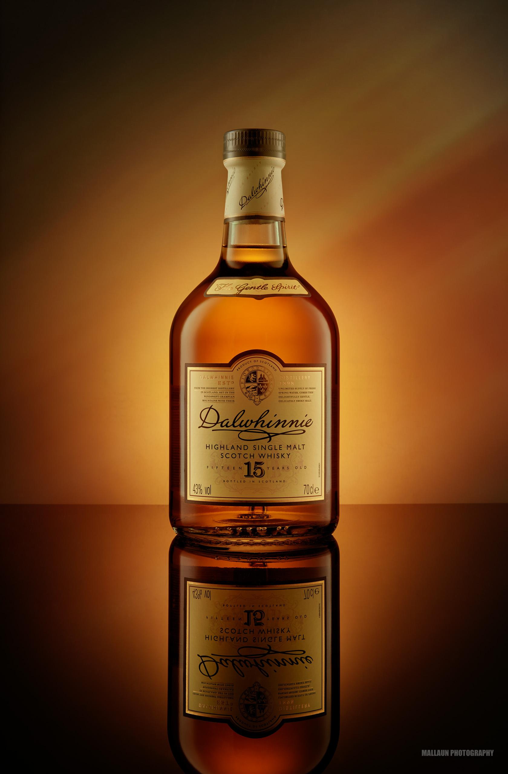 Dalwhinnie Scotch Whisky - 15 Year Old dark background studio photography